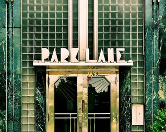 "Montreal geometric print art deco architecture green glass chrome urban retro home decor  - ""Park Lane Apartments"" 8 x 10"