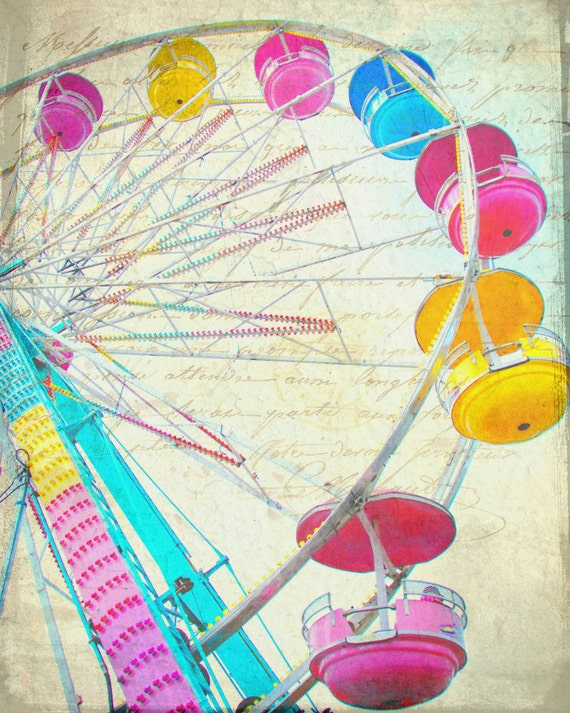 Carnival amusement park multi color ferris wheel pastel colors blue yellow red pink  - Round and Round 8 x 10