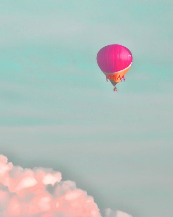 "Balloon in the sky pink clouds dreamy pastel blue sky rose hot air balloon    -  ""Soar"" 8 x 10"