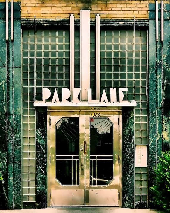 Montreal geometric print art deco architecture green glass