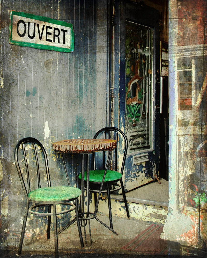 Vintage Sidewalk Cafe Summer Table Chairs Boho Home Grunge