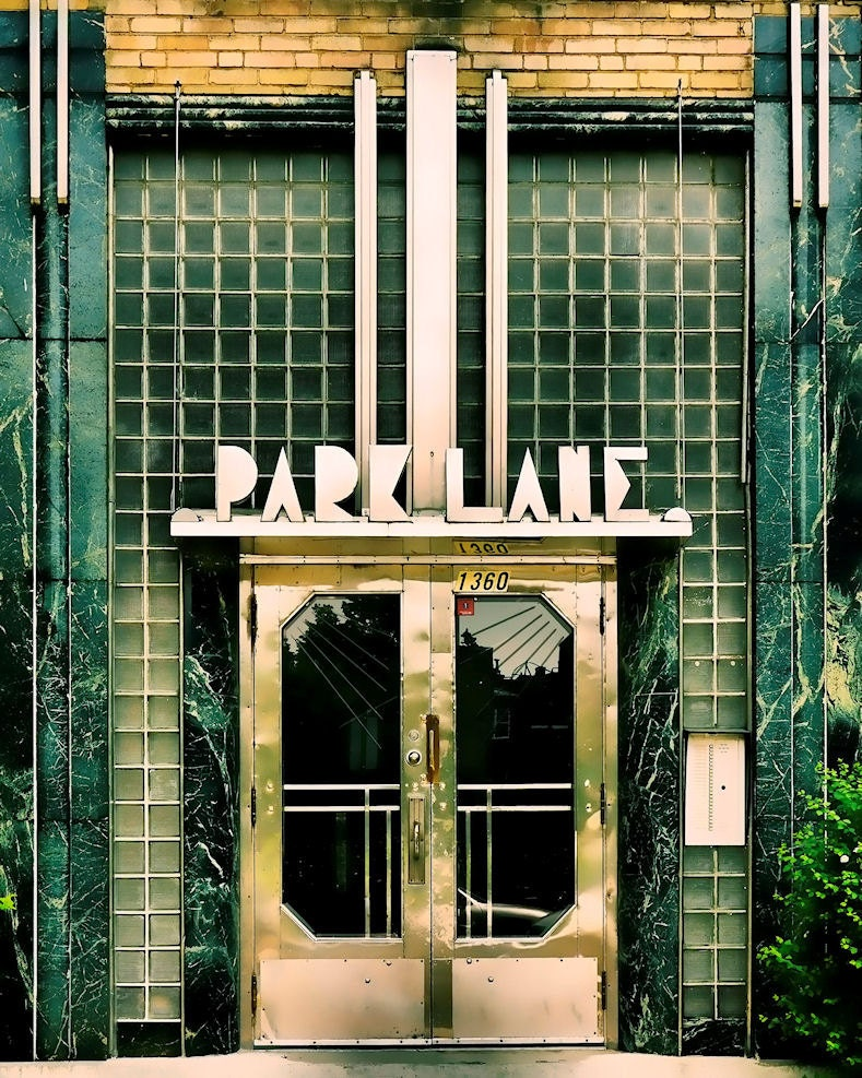 Montreal geometric print art deco architecture green glass for Art deco home decoration