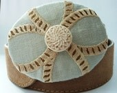 Custom Piece Sold Upcycled Linen and Flower Bead Belt Buckle with Geometric Pattern