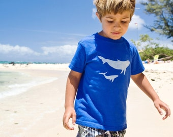Whales Short Sleeve T-Shirt - Long Sleeve Available with Upgrade - Boy's Shirt Made in Maui, Hawaii - Children's Clothing