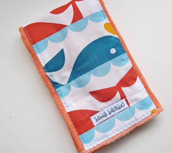 Whales in the Sunset -  Hand Dyed Tangerine Colored Burp Cloth  -  Made with Organic Fabric - by bitty bambu