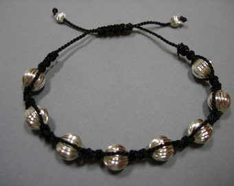 Corrugated Silver Bead Adjustable Bracelet