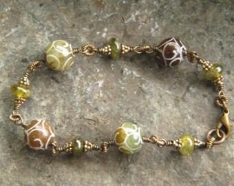Carved Jade Bead Bracelet