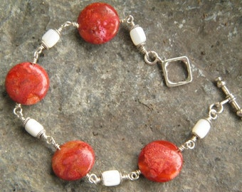 Red sponge coral, mother of pearl and sterling silver bracelet