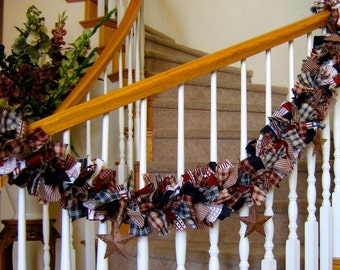 7 ft Americana Garland with Stars,4th of July Decoration,Party Decoration,Fabric Garland, Rag Patriotic Fabric Garland with Rustic Stars