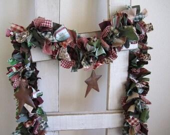 Christmas Garland with Rustic  Stars,Holiday garland,Holiday wall hanging,fabric swag garland,Christmas decoration,rustic star garland