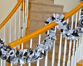 7 foot Garland in Black and White,Fabric Garland, Garland for Home Decorating,Rag GArland,Special Garland,Home decor,Window and Accents