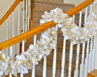 7 foot Shabby Chic Fabric Garland,Fabric Garland,Home Decoration,Party Decoration,Country Fabric Garland,Rag Garland,Wedding Garland