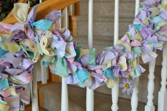 Spring  Easter Fabric Garland with Metal Flowers and Buterflies