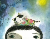 kitty on my head - limited edition archival print