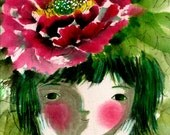peony on my head - limited edition archival print