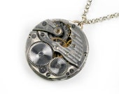Steampunk Antique Crown Pocket Watch Movement Necklace