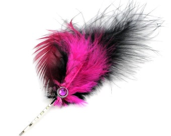 Steampunk Feather and Watch Gear Wheel Bobby Pin