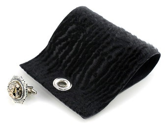 Vintage Tissot Watch Steampunk Black Cow Hide Cuff Link Cuff
