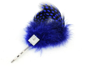 Steampunk Blue Feather and Hamilton Watch Dial Bobby Pin