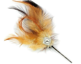 Feather and Hamilton Watch Dial Steampunk Bobby Pin