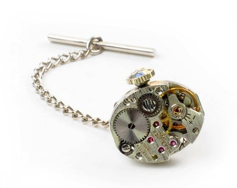 Steampunk Antique 1950's Hamilton Watch Tie Tack Pin Chain Clip