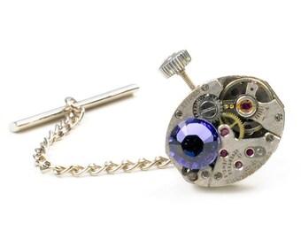 Vintage Tissot Watch N Crystal Steampunk Tie Tack Pin Chain Clip