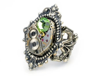 Steampunk Vintage Bulova Watch Movement and Peridot Crystal Adjustable Ring