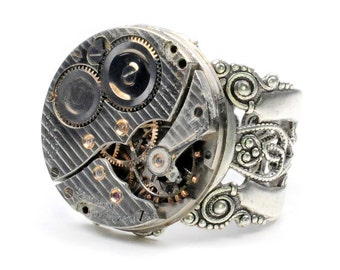 Antique 1936 Hamilton Watch Movement Steampunk Ring