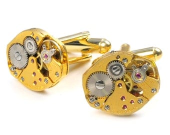 Steampunk Vintage Gold Watch Movement Cuff Links