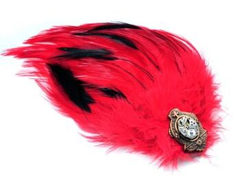 Steampunk Feather N Vintage  Watch Movement Hair Clip