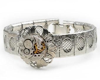 Steampunk Antique Waltham Watch n Silver Frilly Filigree Mesh Bracelet