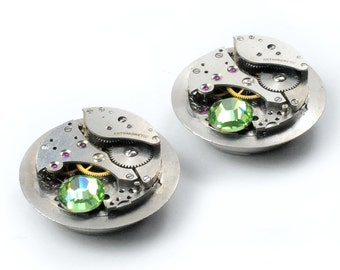Steampunk Vintage Watch Movement n Peridot Crystal Cuff  Button Covers