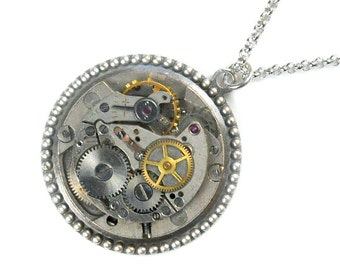 Steampunk Vintage Watch Movement Necklace