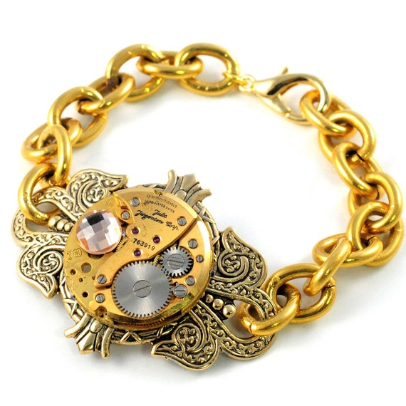 Steampunk  Antique Watch Gold Bracelet