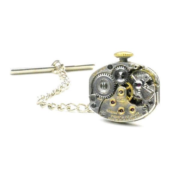 Steampunk Antique 1941 Longines Watch Tie Tack Pin Chain Clip