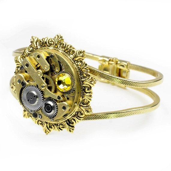 Steampunk Antique Gold Pocket Watch Hinged Gold Cuff Bracelet