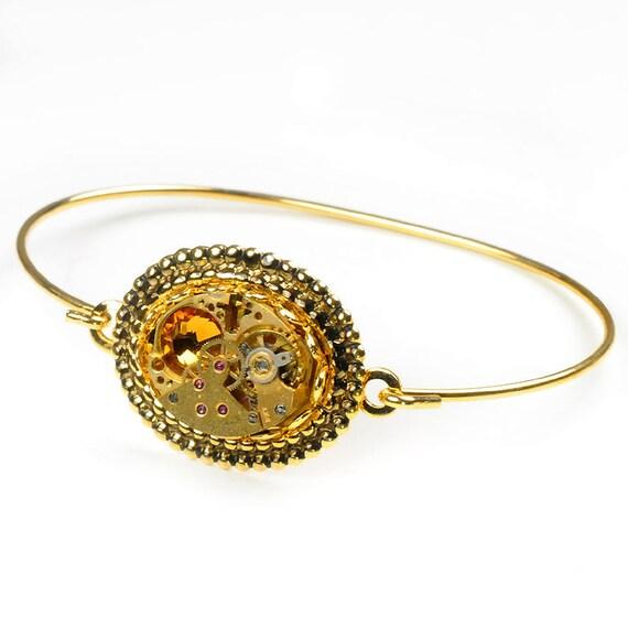 Steampunk  Vintage Gruen Gold Watch Movement n Topaz Crystal Bracelet