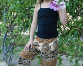 Kids Boho Hippie Pants -East Indian Tapestry Fabric - Raj Gold Design - Size 5 - Boys or Girls