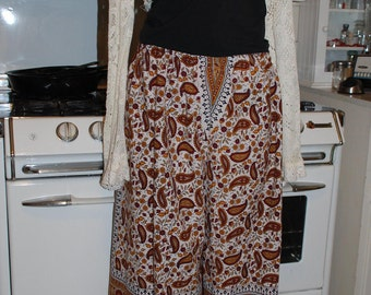 """Hippie Tapestry Pants - Red Rust Circle Paisley Design -38"""" long - Hips 48"""" -   fits most - read measurements"""
