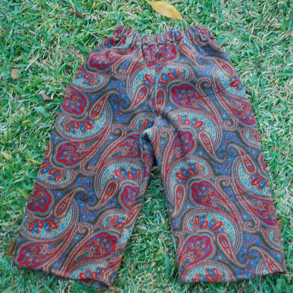 size 1 1/2 -  Kids Hippie  pants -Corduroy Paisley - Last two photo's show how they look on but in different fabric