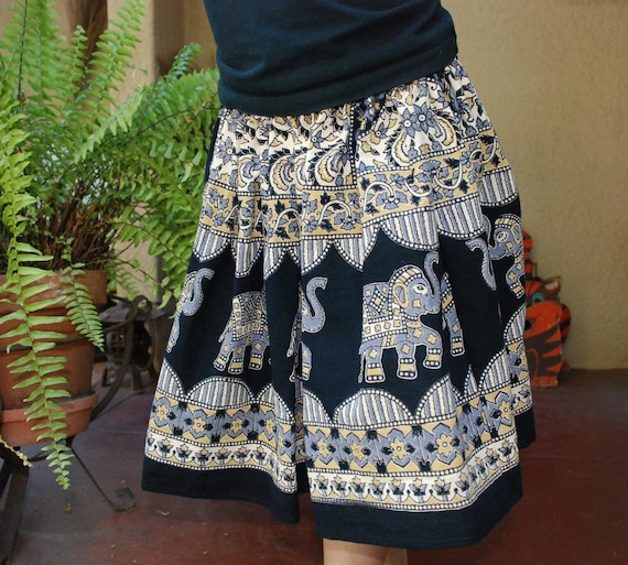 "Boho Hippie Chick  very ,very full 80""around  Elephant Skirt -Gray-Black -girls -fits many sizes"