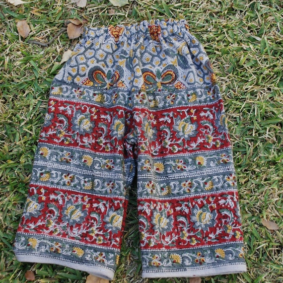 toddler Boho hippie  pants ,  East Indian Tapestry fabric  - Butterfly design - gray maroon - size 1 1/2