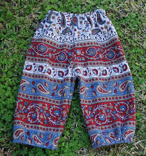 Boho Hippie Chick or Dude Harem Pants - Red grey Blue Paisley design - size 1 to 1 1/2 girls or Boys