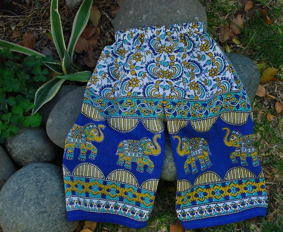 Kids BoHo Hippie East Indian tapestry fabric pants - Turquoise  Elephant  design-  size 2- Girls and Boys