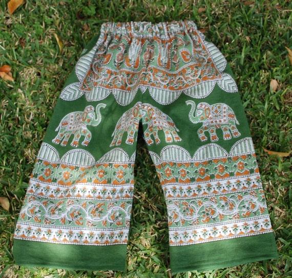 Kids  Boho Hippie Pants -  Green rust Elephant  design - size 3- Girls and Boys