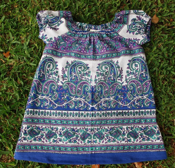 Boho Hippie Chick Peasant tunic dress- Blue purple Raj design - size 3