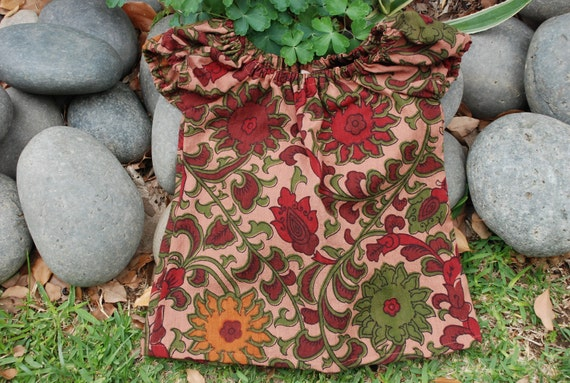 Hippie chick child's  Peasant Tunic  Dress -Blouse - Maroon Sunflower design - size 2 year