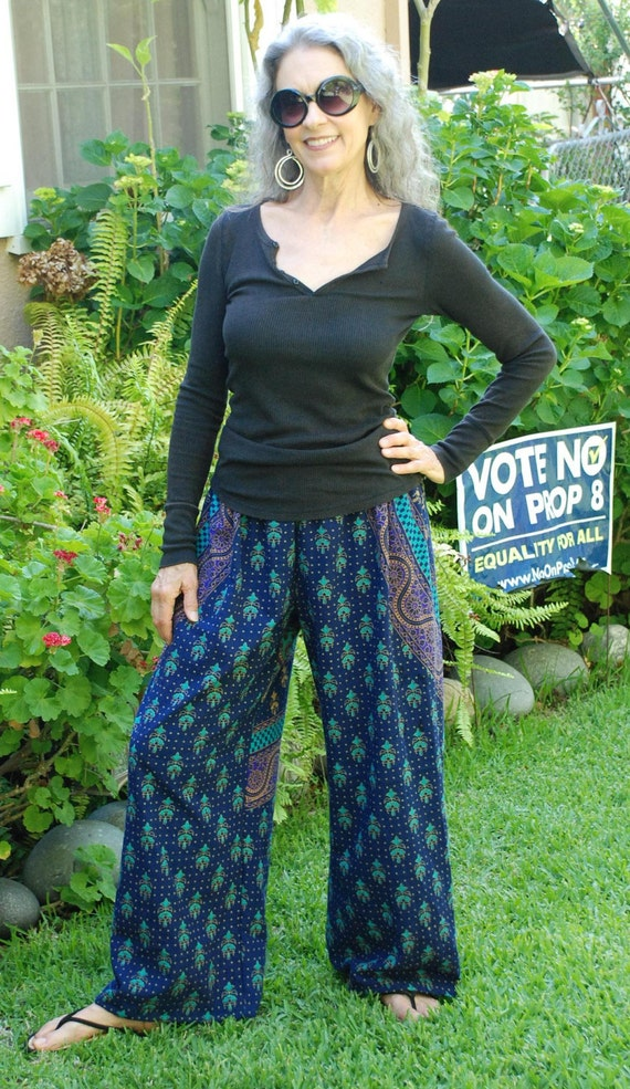 Boho Hippie Pants - Blue Turquoise Purple-Sanganeer Circle- on size fits most- Read Measurements