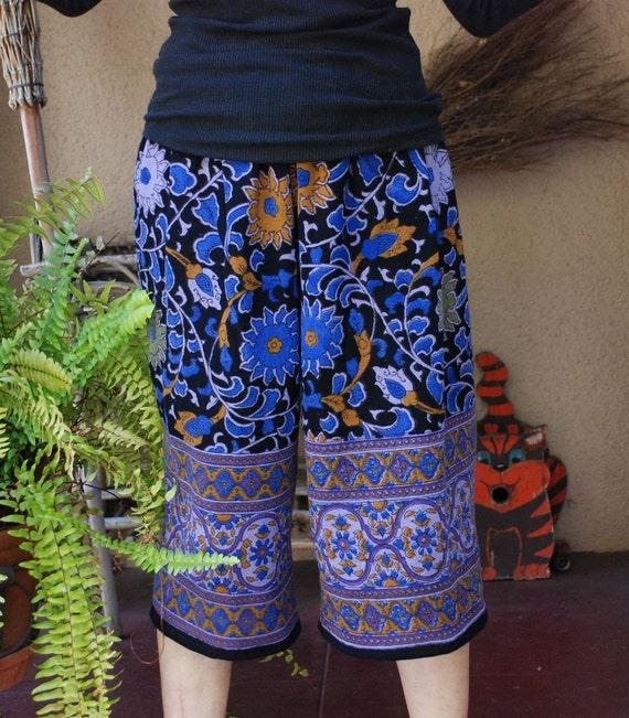 Boho Hippie Capris - Blue Purple Sunflower -  one size fits many - Read Measurements
