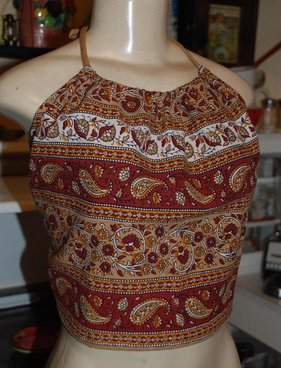 Hippie Midriff Halter Top - Marron Carmel Jaipur   -  one size fits most